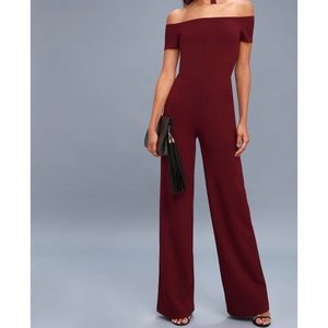 Lulus ALLEYOOP BURGUNDY OFF-THE-SHOULDER JUMPSUIT